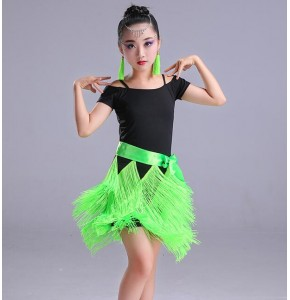 Girls latin dresses for kids children neon green red tassels performance competition salsa rumba chacha dance dress