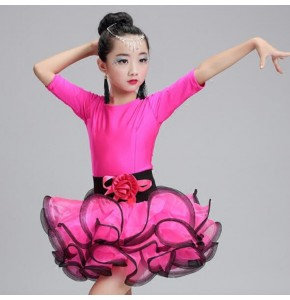 Girls latin dresses  for kids children pink neon green ballroom competition stage performance salsa rumba chacha dance dresses