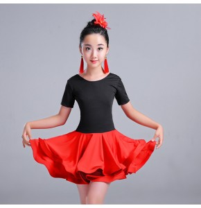 Girls latin dresses for kids children stage performance green red competition ballroom dancing dresses