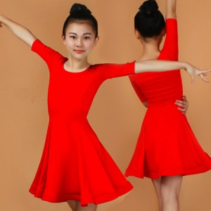 Girls latin dresses red pink blue black kids children stage performance school  competition ballroom salsa chacha rumba dancing outfits costumes