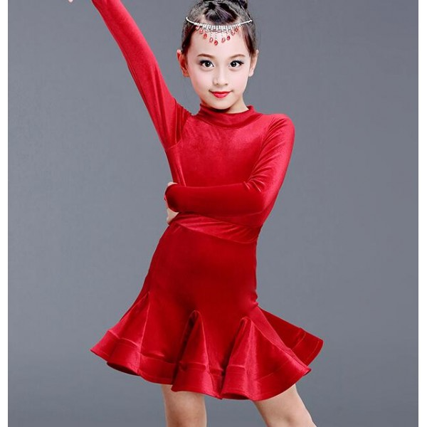 ZYLL Kids Dresses for Girls Long Sleeve Latin Dance Dress Velvet Ballroom Competition Party Stage Performance Practice Costumes