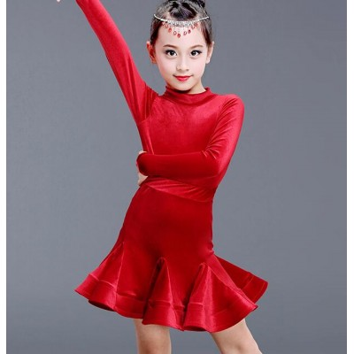 Girls latin dresses Red velvet royal blue black long sleeves girl's kids children stage performance competition latin ballroom dance dresses