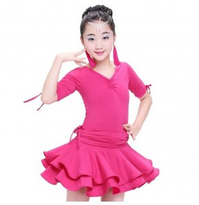Girls latin dresses school stage performance competition salsa chacha rumba gymnastics dancing outfits