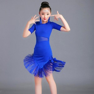 Girls latin performance dresses for kids children royal blue red ballroom salsa chacha rumba modern dance dresses