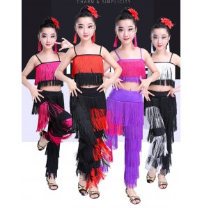 Girls latin tops and pants for kids children fringes performance competition salsa chacha dance outfits