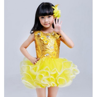 Girl's modern dance dresses sequined girls kids children school competition stage performance jazz singers host dancing dresses