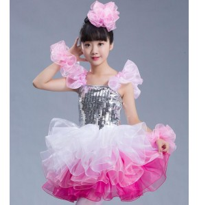 Girls modern dance jazz dance dress sequined pink blue singers dancers school competition performance dresses
