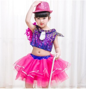 Girls modern dance jazz performance dresses singers kids children school competition hiphop  sequined jazz dancing outfits