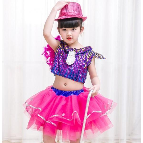 25c4e088685f Hip Hop Kids Costume   Image Is Loading KIds-Sequined-Ballroom-Jazz ...