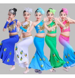 Girls peacock Chinese folk dance costumes classical stage performance  competition modern dance drama cosplay outfits