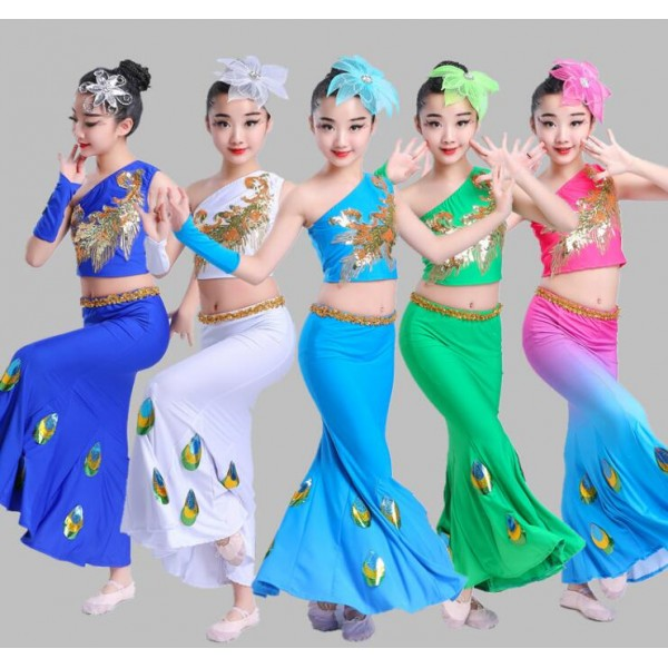 4440ec27a Girls Peacock Chinese Folk Dance Costumes Classical Stage Performance  Competition Modern Dance Drama Cosplay Outfits Sc 1 St  Wholesaledancedress.com