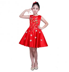Girls princess modern dance dresses flower girls jazz singers  team dancers stage performance chorus dresses