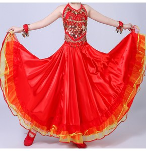 Girls red flamenco skirt for children Spanish folk bull dance skirts school competition stage performance Faldas de baile de toros españolas