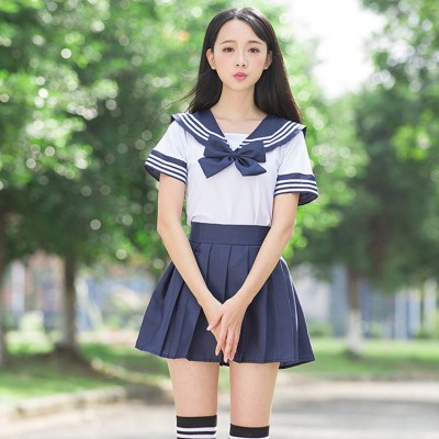 Girl's sailor collar blue and white striped short sleeves Japanese style high school chorus performance cosplay student school uniforms clothes