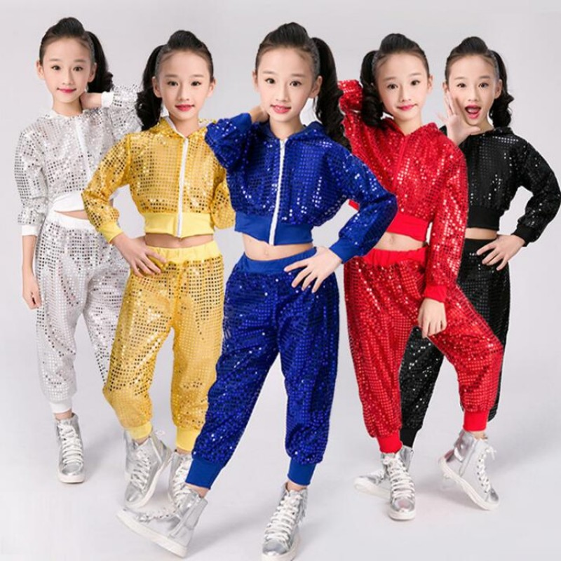 Girls sequined  Gold Silver royal blue red Jazz Hip Hop Dance Competition Costumes Kid Clothing Clothes Hoodie Top Pants Dancing Wear outfits
