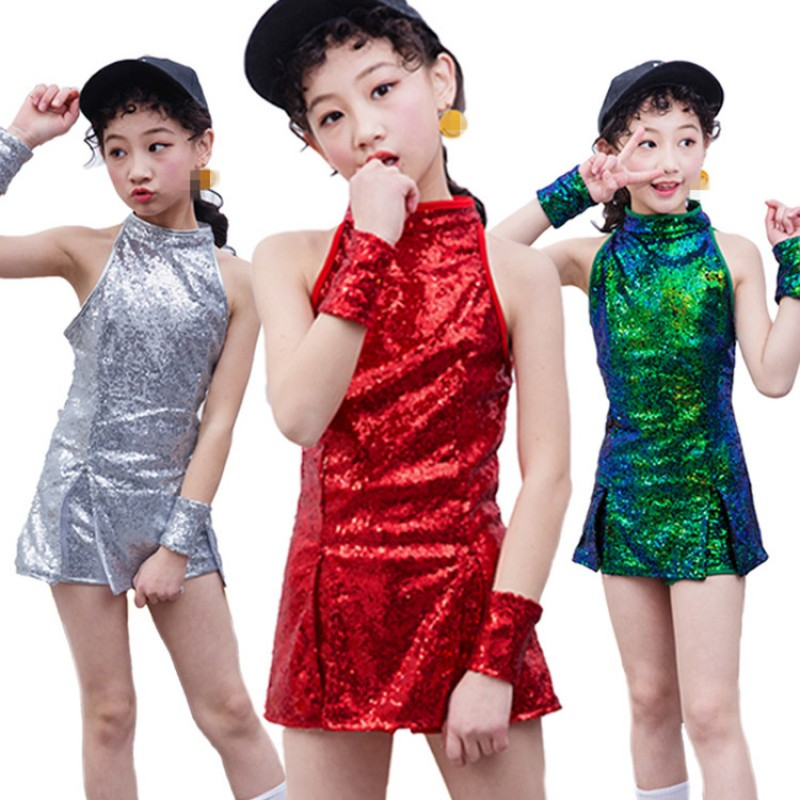 9cd1fecae92 Girls silver jazz dance dress hiphop cheer leaders green red paillette  hiphop street dance performance photo competition costumes outfits