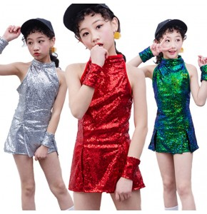 Girls silver jazz dance dress hiphop cheer leaders green red  paillette hiphop street dance performance photo competition costumes outfits