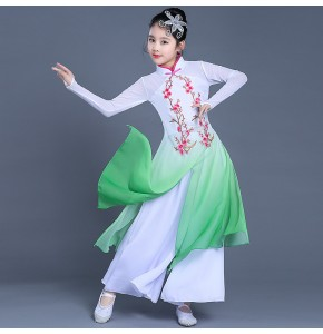 Girls traditional Chinese folk dance dresses red green blue fairy children photos ancient dance film cosplay dance costumes