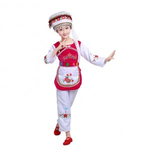 Girls traditional folk dance costumes cosplay stage performance tujia Hmong minority dancing outfits