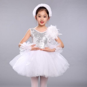 Girls tutu ballet dresses paillette white swan lake competition stage performance dress skirts