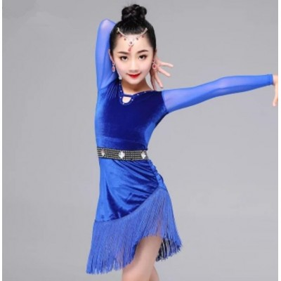 Girls Velvet Royal blue stones competition latin dress children kids stage performance ballroom salsa cha cha dance dresses