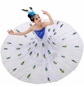 Girls White peacock dance dresses stage performance competition modern folk dance hmong minority dance dresses
