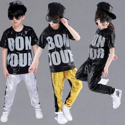 Gold black silver sequined Children jazz dancing costumes girls and boy set kids hiphop hip - hop Sequins costumes girls performance costumes