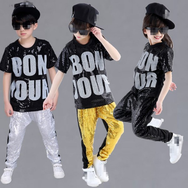 81011cd0f Gold Black Silver Sequined Children Jazz Dancing Costumes Girls And Boy Set  Kids Hiphop Hip -