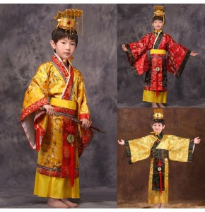 gold child chinese traditional hanfu dress men boys emperor king Stage red Clothing children costumes tang suit kids robe+hat sets