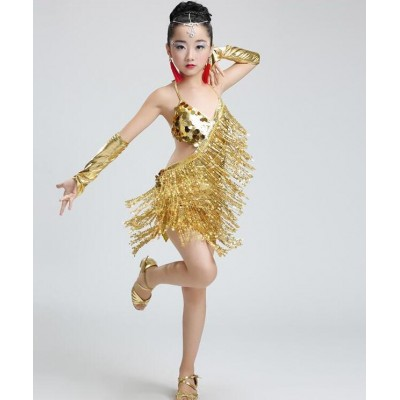 Gold Girl Children Latin Dress Dancewear Competition Dancing  sequins Modern Dance Latin Costume Child Cha-Cha Latin Dance For Girls