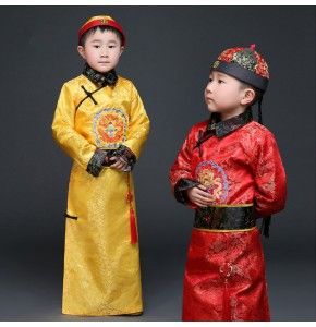 Gold Hanfu Dress Ancient Chinese Traditional Costume Men for Kids Boys Hanfu Cosplay Child Clothing Tang Dynasty Dance Children