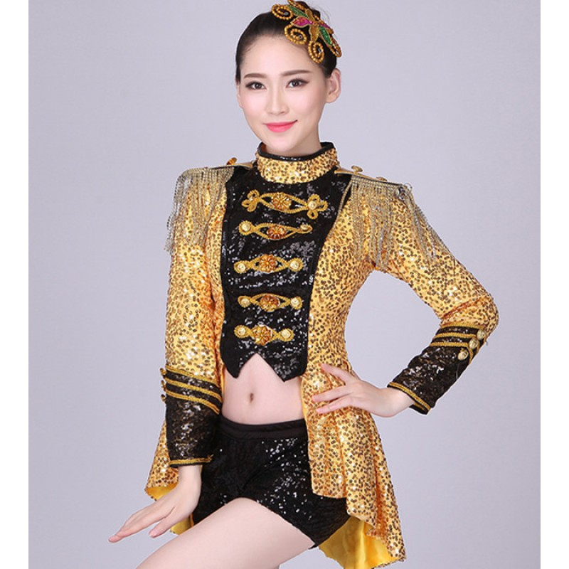 Gold red Fashion Women Jazz Dance Jacket Wear sequined Costume Adult modern dance costume  tuxedo performance wear singer dancer clothes
