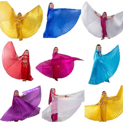 Gold royal blue turquoise fuchsia silver Kids performance cosplay belly dance Isis Wings Children belly dancing Wings