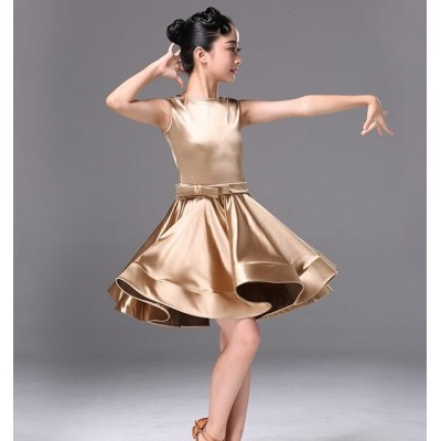 Gold Satin girls kids children ballroom dancing dresses kids children stage performance competition latin salsa chacha rumba dance dresses