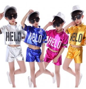 Gold silver royal blue pink Children jazz dance costumes boys girls hip-hop jazz modern dance performances children Stage Dancewear