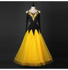 Gold yellow black stones women's competition dew shoulder long sleeves performance stage long length full skirted ballroom dresses