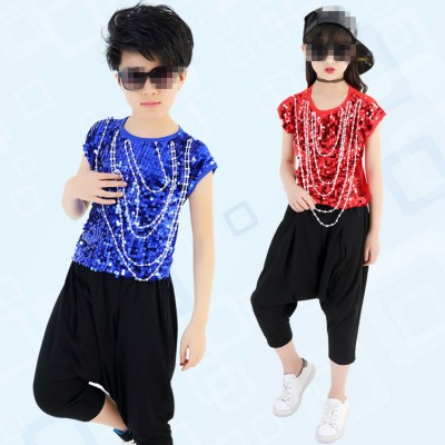 Gold yellow red royal blue sequined paillette boys girl's kids children competition hip hop jazz model show dance costumes outfits