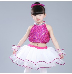 Gold yellow sequined modern dance singers girl's kids children school competition performance jazz princess hip-hop chorus dance dresses