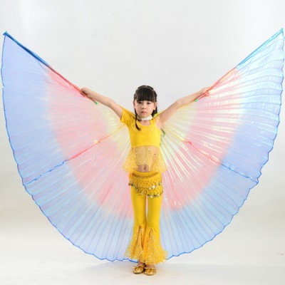 gradient Rainbow colored girl's  Kids belly dance Isis Wings Children performance competition cosplay belly dancing Wings