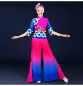 Gradient royal blue pink Chinese Ancient Traditional Plus Size Dress Yangko Dance Costume Folk Dance Costume