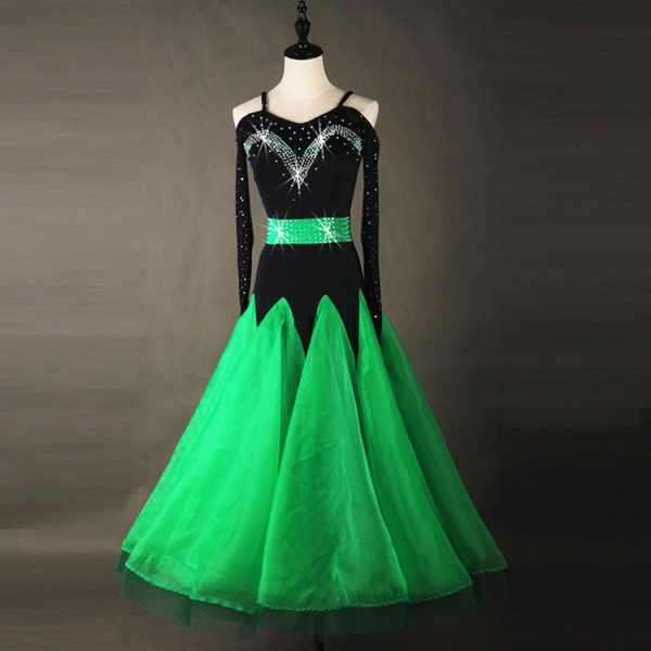 b38d39153 Green black Women Standard Ballroom Dresses Long Sleeve Stretchy Dancing  Costume Adult Waltz Ballroom Competition Dance Dress- Material:microfiber  and ...