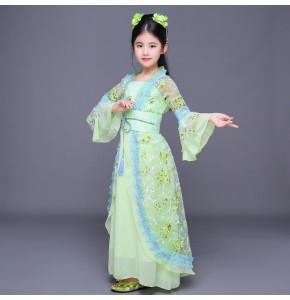 Green children fairy folk dance dresses kids girl's competition stage performance classical anime cosplay princess  dance dresses