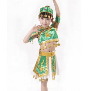 Green Chinese Mongolia Chinese Dance Costume Traditional Mongolia Costume Children's Performance Dance Skirt with hat