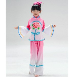 Green fuchsia Ancient Traditional Fan Dance Younger Chinese Folk Dance Costumes For Kids Children Girls TOPS and pants
