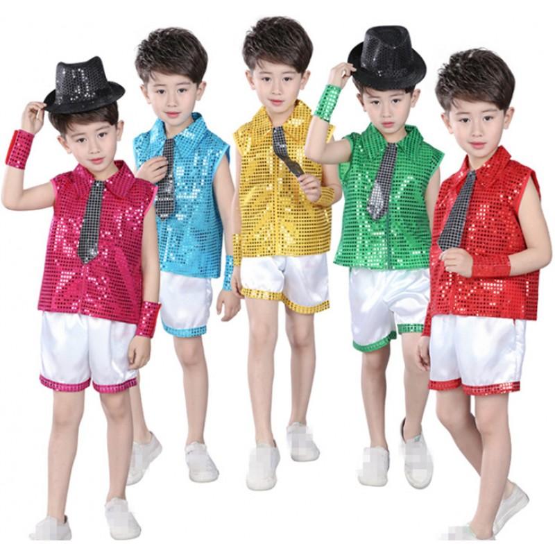 d6b89e0ef5ac Green fuchsia green gold sequins Children Jazz Dance Clothing Boys ...