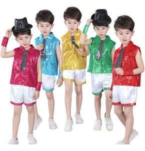 Green fuchsia green gold sequins Children Jazz Dance Clothing Boys Street Dance Hip Hop Dance Costumes Kids Performance Clothes Sets