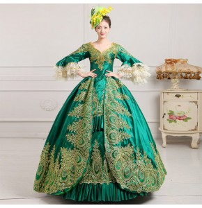 Green fuchsia royal blue red women's female European palace chorus drama performance cosplay party dancing big skirted dresses costumes