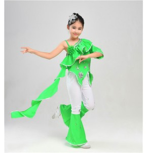 Green Girls traditional Chinese folk dance costumes kids children ancient stage performance drama cosplay dancing outfits