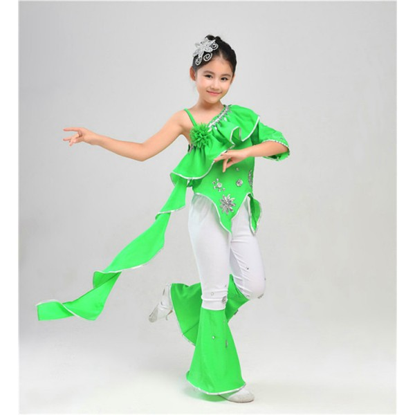 Green Girls traditional Chinese folk dance costumes kids children ancient stage performance drama cosplay dancing outfits  sc 1 st  Wholesaledancedress.com & Green Girls traditional Chinese folk dance costumes kids children ...