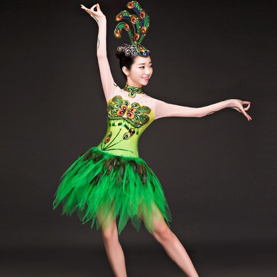 Green peacock modern dance women's female singers dancers jazz hip hop solo stage performance film cosplay  dance dresses